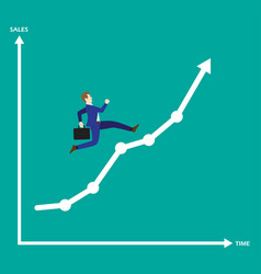 businessman running on growth line graph vector image