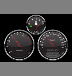 car dashboard black gauges set speedometer vector image
