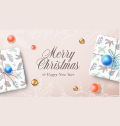 Christmas gift boxes banner or greeting card vector