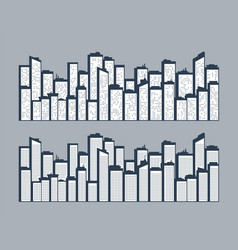 cityscape urban landscape silhouettes buildings vector image