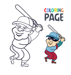 Coloring page with baseball player cartoon vector