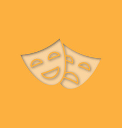 Comedy and tragedy masks paper cut out icon vector