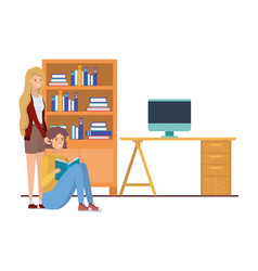 Couple in work office with white background vector