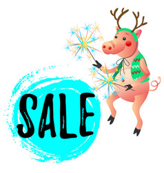 Dancing pig with sparklers new year sale vector