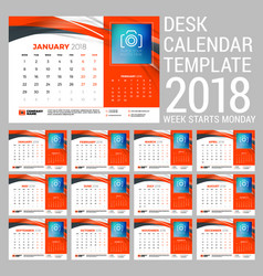 Desk calendar set for 2018 year design print vector