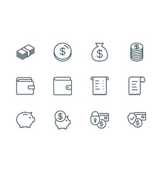 E-commerce finance line icons set on white vector