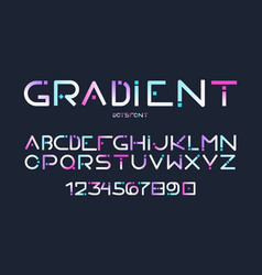 English alphabet gradient letters digits vector