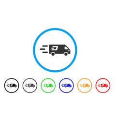 Fast dash delivery car rounded icon vector