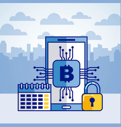 fintech bitcoin cryptocurrency vector image