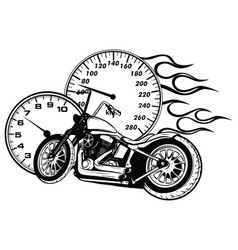 flaming bike chopper ride vector image