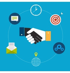 Flat design of handshake by businessmen vector image