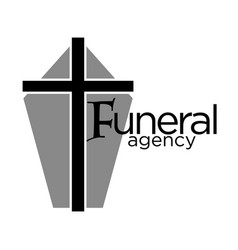 Funeral agency logo with grey coffin casket and vector