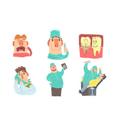 Funny cartoon dentist at work humanized sick and vector