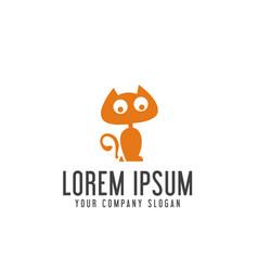 funny cat logo design concept template vector image