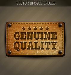 Genuine style leather label design vector