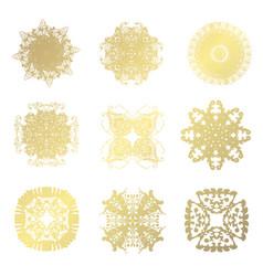 golden snowflakes set vector image