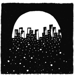 Hand-drawn night city vector image