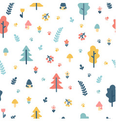 Hand drawn seamless pattern with trees wrapping vector