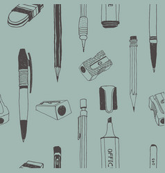 hand drawn stationery seamless pattern vector image