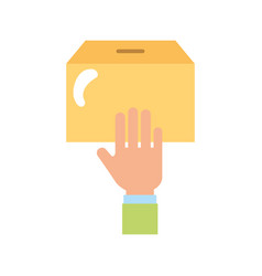 Hand human with box carton packing icon vector