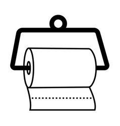Hanging a disposable paper towels line art icon vector