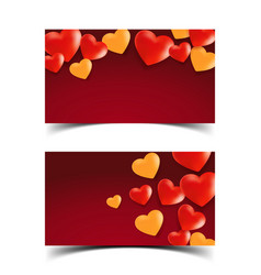 Hearts in red background5 vector