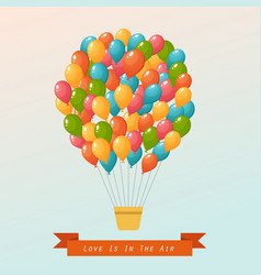 Hot air balloon in the sky postcard vector
