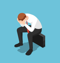 isometric depressed businessman facepalm or cover vector image