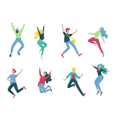 jumping character in various poses happy positive vector image