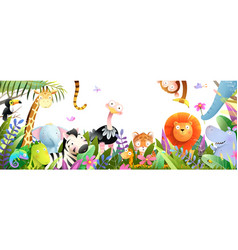 Jungle baby animals in tropical forest for kids vector