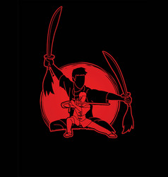 Kung fu fighter martial arts with swords action vector