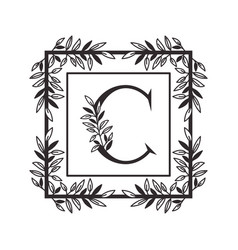 Letter c alphabet with vintage style frame vector