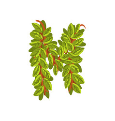 Letter m english alphabet made of tree branches vector