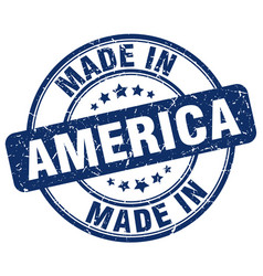 made in america blue grunge round stamp vector image