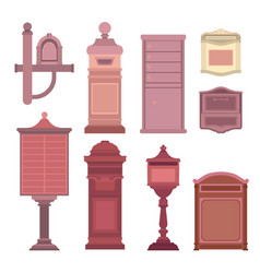 Mail boxes collection in flat style postbox icon vector