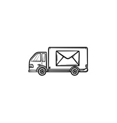 mail van hand drawn outline doodle icon vector image