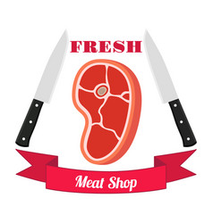 Meat logos labels fresh meat pork in flat style vector