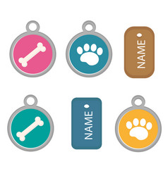 medallion dog tag set icons flat cartoon vector image