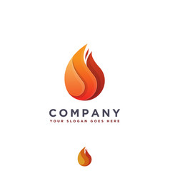 modern geometric fire flame logo icon template vector image