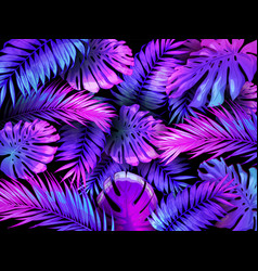 neon color tropical leaves trendy colorful palm vector image