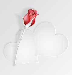 Paper hearts with red rose vector image