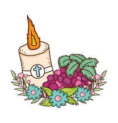 Paschal candle sacred with grapes fruits vector