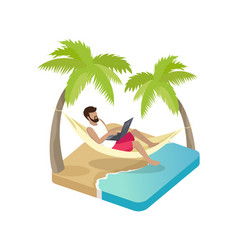 person working on vacation cartoon icon vector image