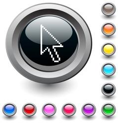 Pixel arrow round button vector image