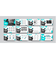 Presentation infographic with blue design vector