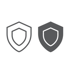 Protection line and glyph icon safety security vector