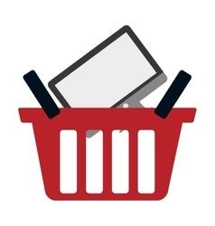 Red basket buy online computer screen wireless vector