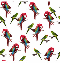 red parrot seamless pattern on a white background vector image