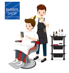 relaxing man in barber shop vector image