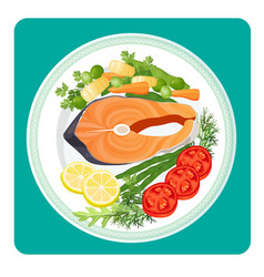 salmon fish meat slice and vegetables vector image